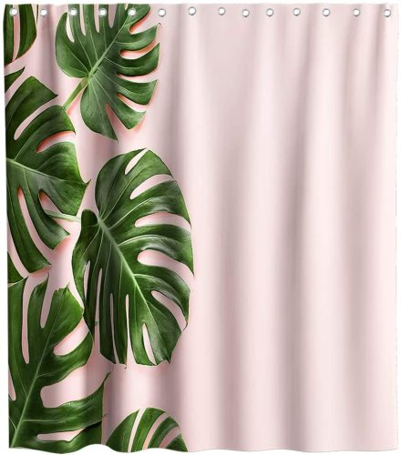 Tropical Plants Palm Leaf Abstract Exotic Monstera Theme Fabric Banana Leaves Shower Curtain Sets Kids Bathroom Home Decor with Hooks Waterproof Washable 72 x 72 inches Green and Pink