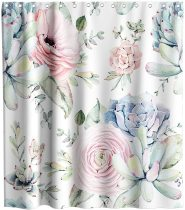 yanfind Cactus Flowers Shower Curtain Tropical Plant Succulent Cacti Floral Theme Fabric Kids Bathroom Decor Sets with Hooks Waterproof Washable 72 x 72 inches Pink Green and Blue
