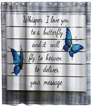 Love Quotes Blue Butterfly on Vintage Grey Wood Theme Fabric Shower Curtain Sets Kids Bathroom Decor with Hooks Waterproof Washable 72 x 72 inches Blue Grey and White