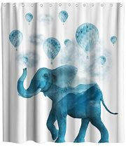 African Elephant Hot Air Balloon Theme Fabric Shower Curtain Sets Kids Bathroom Decor with Hooks Waterproof Washable 72 x 72 inches Blue White and Grey