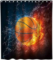 Basketball Fire Flame Splashing Black and White Theme Fabric Boys Shower Curtain Sets Kids Bathroom Sports Decor Collection with Hooks Waterproof Washable 72 x 72 inches Red and Orange