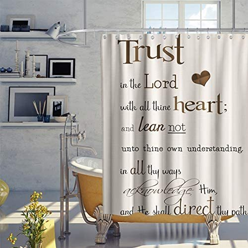 Trust in The Lord with All Thine Heart Inspirational Theme Fabric Bible Verse Scripture Quotes Shower Curtain Sets Bathroom Decor with Hooks Waterproof Washable 70 x 70 inches Beige Brown and Black