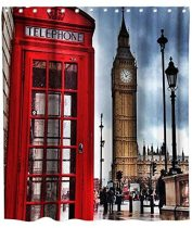 Romantic Shower Curtain England Big Ben Phone Box Theme Cloth Fabric Kids Bathroom Decor with Hooks Waterproof Washable 72 x 72 inches Red Brown and White