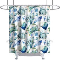 Seashell Starfish Shower Curtain Coral Nautical Crab Conch Seafaring Tropical Ocean Animal Theme Fabric Bathroom Sets Decor with Hooks Waterproof Washable 72 x 72 inches Turquoise Teal Blue and White
