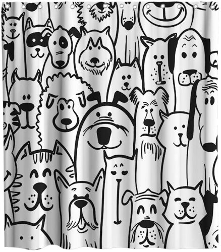 Funny Cute Dog Sheep Lovely Animals Cat Theme Fabric Black and White Shower Curtain Sets Kids Bathroom Decor with Hooks Waterproof Washable 72 x 72 inches