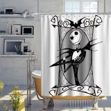 Nightmare Before Christmas Shower Curtain Halloween Skull Theme Fabric Kids Jack Skellington Bathroom Set Decor Sets with Hooks Waterproof Washable 72 x 72 inches Grey Black and White