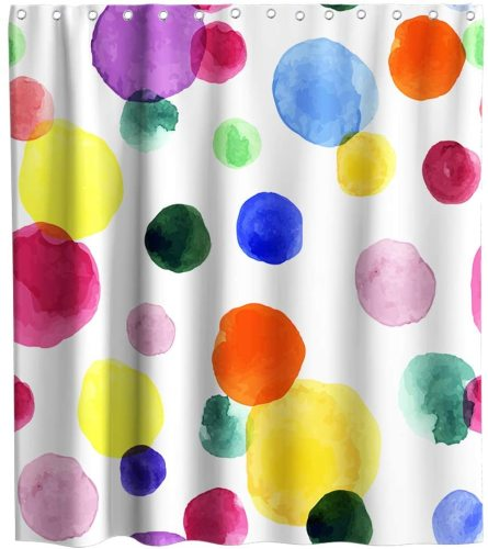 Watercolor Rainbow Stripe Theme Fabric Shower Curtain Sets Kids Bathroom Decor with Hooks Waterproof Washable 72 x 72 inches Red Blue and Yellow