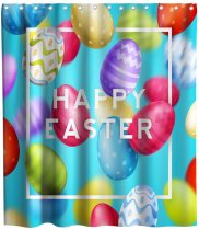 Happy Easter Shower Curtain Festival Eggs Theme Cloth Fabric Watercolor Bathroom White Decor Sets with Hooks Waterproof Washable 72 x 72 inches Blue Yellow and Red