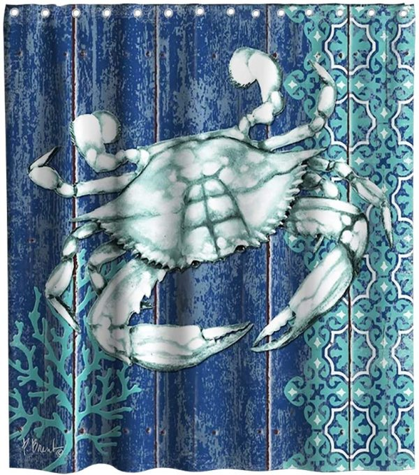 Sea Crab Shower Curtain Green Marine Life Nautical Ocean Animal Farmhouse Style Rustic Wood Plank Theme Fabric Bathroom Decor Sets with Hooks Waterproof Washable 72 x 72 inches Blue Teal and White