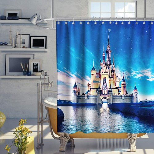 Castle Rainbow Theme Fabric Shower Curtain Sets Kids Bathroom Decor with Hooks Waterproof Washable 72 x 72 inches Blue Yellow and Pink