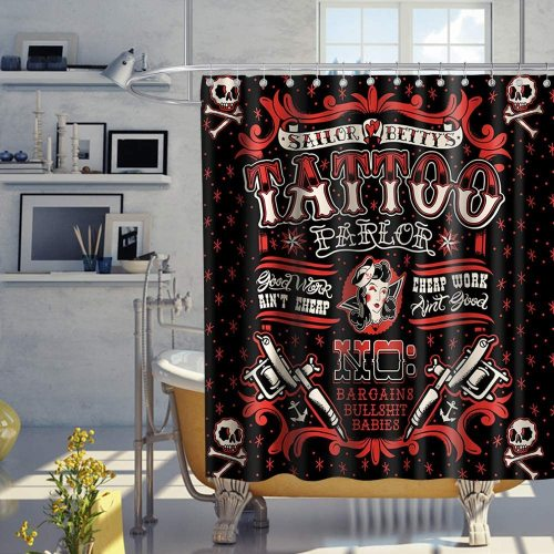 Vintage Punk Style Tattoo Pirate Sailor Bettys Skull Funny Theme Fabric Tattoo Shower Curtain Sets Kids Bathroom Halloween Decor with Hooks Waterproof Washable 70 x 70 inches Red and Black