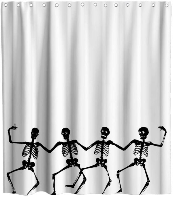 Sugar Skull Theme Fabric Funny Dancing Skeleton Shower Curtain Sets Kids Bathroom Halloween Decor with Hooks Waterproof Washable 70 x 70 inches Black and White