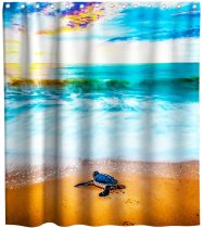 yanfind Sea Turtle Beach Ocean Animal Theme Fabric Shower Curtain Sets Kids Bathroom Decor with Hooks Waterproof Washable 72 x 72 inches Blue Beige and Black