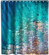 Beach Ocean Waves Coastal Sea Theme Fabric Tropical Hawaiian Surfing Shower Curtain Sets Kids Bathroom Decor with Hooks Waterproof Washable 72 x 72 inches Blue Brown and Aqua