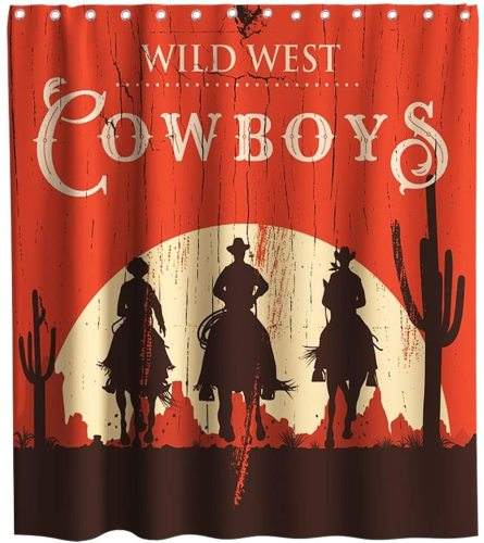 Western Dallas Horse Theme Fabric Tropical Plant Cactus Shower Curtain Sets Kids Bathroom Decor with Hooks Waterproof Washable 72 x 72 inches Red Black and White