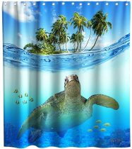 Tropical Shower Curtain Ocean Animal Turtle Theme Fabric Hawaii Bathroom Home Decorative Decor Sets with Hooks Waterproof Washable 72 x 72 inches Green Blue and White