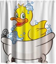 Funny Cute Yellow Squeak Rubber Ducky Cartoon Character Taking a Bath Theme Fabric Shower Curtain Sets Kids Bathroom Decor with Hooks Waterproof Washable 72 x 72 inches Orange Blue and White
