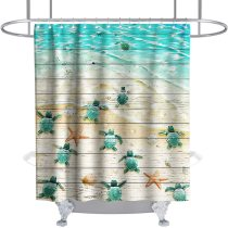 Sea Turtle Shower Curtain Sea Turtles and Starfish at Ocean Sandy Beach on Rustic Vintage Wood Panels Theme Fabric Bathroom Sets Decor with Hooks Waterproof Washable 72 x 72 inches Red Blue and White