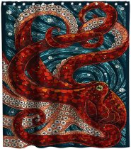 Octopus Shower Curtain Sea Monster Ocean Theme Fabric Bathroom Home Decorative Decor Sets with Hooks Waterproof Washable 72 x 72 inches Red Navy and White