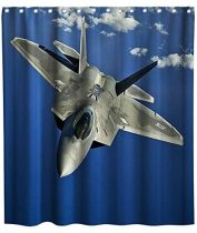 Plane Airplane Flying in The Cloudy Sky Theme Fabric Shower Curtain Sets Kids Bathroom Decor with Hooks Waterproof Washable 72 x 72 inches Blue Grey and White