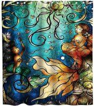 Nautical Mermaid Shower Curtain Ocean Animals Anime Vintage Art sea-Maid Theme Fabric Kids Bathroom Beach Decor Setswith Hooks Waterproof Washable 72 x 72 inches Gold Blue and Beige