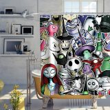 Nightmare Before Christmas Shower Curtain Halloween Skull Theme Fabric Kids Bathroom Decor Sets with Hooks Waterproof Washable 72 x 72 inches Purple Black and White