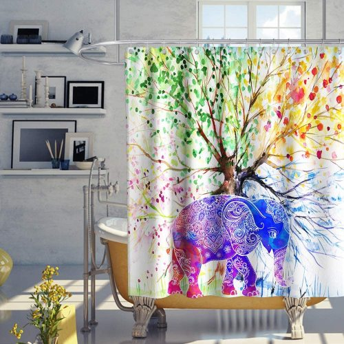Colorful Tree Shower Curtain Spring Life of Tree Cartoon Elephant Indian Bohemian Boho Theme Fabric Bathroom Home Decor Sets with Hooks Waterproof Washable 72 x 72 inches Green Blue and Yellow