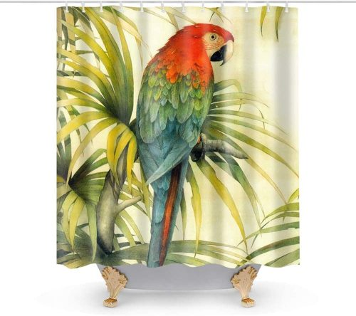 Macaw Bird in The Tropical Forest Flowers Big Leaves Plants Wildlife Vibrant Theme Fabric Shower Curtain Sets Bathroom Parrots Decor with Hooks Waterproof Washable 72 x 72 inches Red Green and Yellow