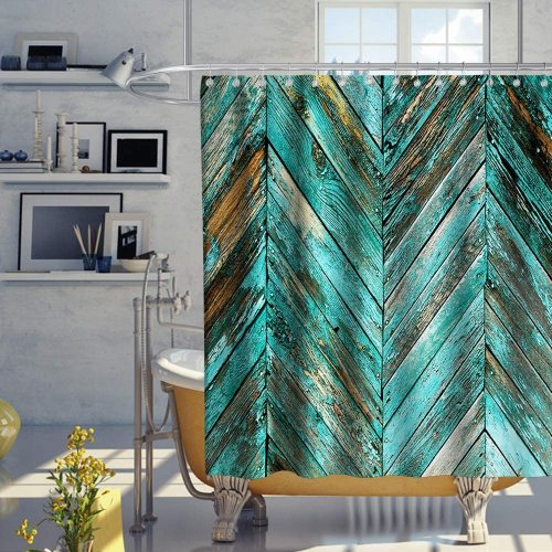 Farm House Shower Curtain Rustic Wooden Vintage Chevron Zig Zag Striped Pattern on Board Plank Theme Fabric Bathroom Fantastic Barn Door Decor Sets with Hooks Waterproof Washable 72 x 72 inches Teal