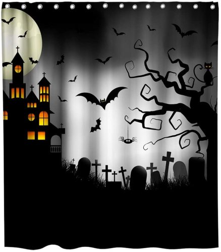 Nightmare Before Christmas Moonlight Madness Theme Fabric Vampire Shower Curtain Sets Kids Bathroom Halloween Decor with Hooks Waterproof Washable 72 x 72 inches Orange Black and White