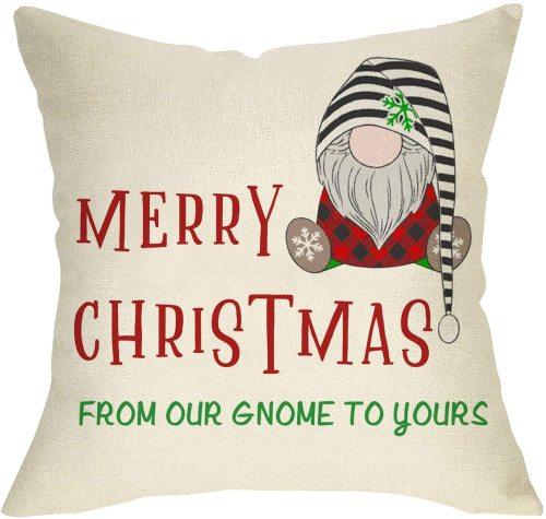 Yanfind Merry Christmas Throw Pillow Cover, Buffalo Plaid Gnome Decorative Cushion Case Xmas Decor, Winter Holiday Home Outdoor Decorations Sign Cotton Linen Pillowcase for Sofa Couch 18 x 18