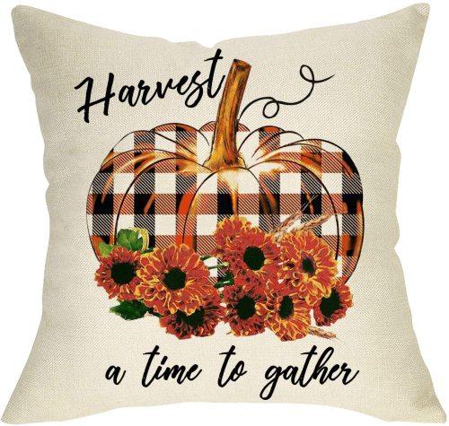 Yanfind Pumpkin Sunflowers Decorative Throw Pillow Cover, Harvest a Time to Gather Welcome Fall Cushion Case Buffalo Plaid Check Autumn Farmhouse Home Decoration Thanksgiving Pillowcase Decor 18 x 18