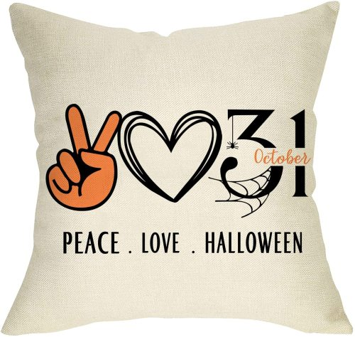 Yanfind Peace Love Halloween Decorative Throw Pillow Cover, October 31 Spider Web Cushion Case, Fall Autumn Farmhouse Home Decoration Cotton Linen Square Pillowcase Decor for Sofa Couch 18 x 18