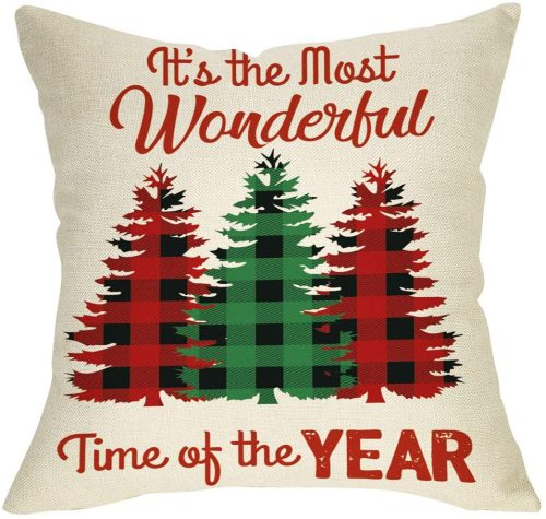 Yanfind It's the Most Wonderful Time of the Year Christmas Throw Pillow Cover, Decorative Xmas Tree Cushion Case Buffalo Plaid Home Winter Square Pillowcase Decor for Sofa Couch 18'' x 18'' Inch Linen