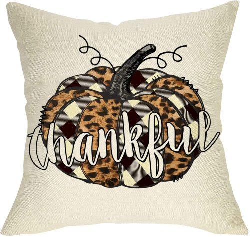Yanfind Thankful Pumpkin Decorative Throw Pillow Cover, Fall Buffalo Plaid Check Leopard Cushion Case, Autumn Farmhouse Home Decoration Thanksgiving Square Pillowcase Decor for Sofa Couch 18 x 18