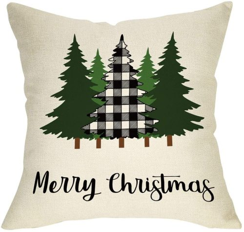 Yanfind Merry Christmas Throw Pillow Cover, Decorative Xmas Tree Sign Cushion Case Buffalo Plaid, Farmhouse Home Winter Holiday Square Pillowcase Decor for Sofa Couch 18'' x 18'' Inch Cotton Linen