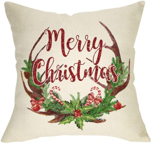 Yanfind Merry Christmas Throw Pillow Cover, Decorative Xmas Deer Antler Garland Cushion Case, Home Winter Decoration Holiday Square Pillowcase Decor for Sofa Couch 18'' x 18'' Inch Cotton Linen