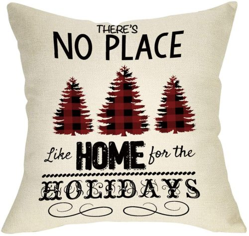 Yanfind There's No Place Like Home for The Holidays Christmas Throw Pillow Cover, Xmas Tree Sign Decorative Cushion Case Buffalo Plaid, Home Winter Square Pillowcase Decor for Sofa Couch 18 x 18 Inch