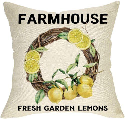 Yanfind Fresh Garden Lemons Decorative Farmhouse Throw Pillow Cover, Summer Wreath Cushion Case, Spring Seasonal Home Decorations Cotton Linen Square Outside Pillowcase Decor Sign for Sofa Couch 18x18