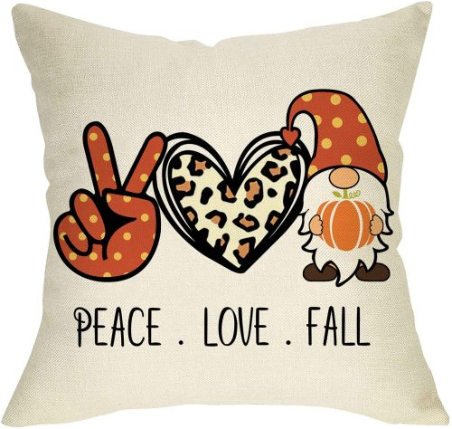 Yanfind Peace Love Fall Decorative Throw Pillow Cover, Autumn Pumpkin Gnome Leopard Heart Cushion Case, Seasonal Farmhouse Home Decorations Cotton Linen Square Pillowcase Decor for Sofa Couch 18 x 18