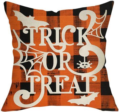 Yanfind Trick or Treat Halloween Decorative Throw Pillow Cover, Orange Buffalo Plaid Check Cushion Case Spider Web Bat Decor Sign, Fall Holiday Square Pillowcase for Autumn Home Sofa Decoration 18x18