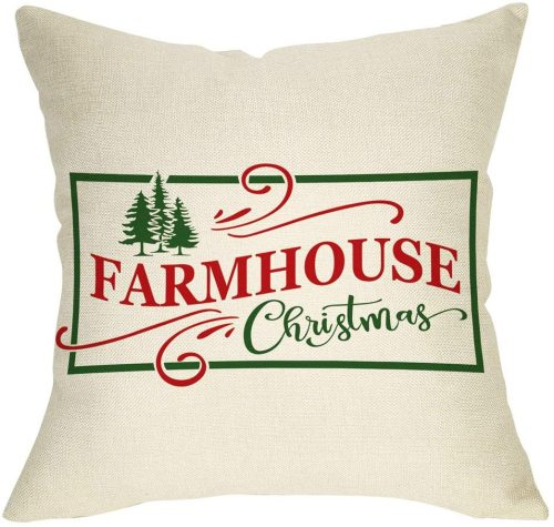 Yanfind Farmhouse Christmas Throw Pillow Cover, Xmas Tree Sign Decorative Cushion Case, Home Winter Decoration Holiday Square Pillowcase Decor for Sofa Couch 18'' x 18'' Inch Cotton Linen