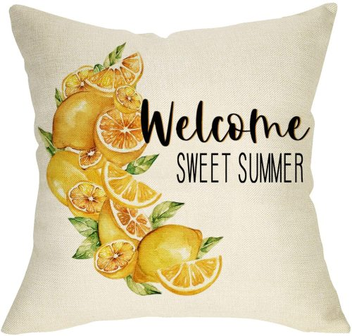 Yanfind Welcome Sweet Summer Decorative Farmhouse Throw Pillow Cover, Lemon Cushion Case Seasonal Home Decorations, Cotton Linen Square Outside Pillowcase Decor Sign for Sofa Couch 18 x 18