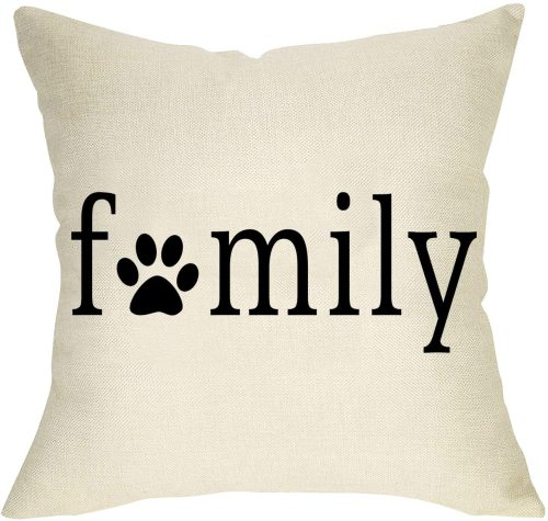 Yanfind Dog Paw Printed Family Throw Pillow Cover, Decorative Pet Cushion Case Farmhouse Decorations for Dog Lover Gift, Outdoor Pillowcase Home Decor for Sofa Couch 18 x 18 Cotton Linen