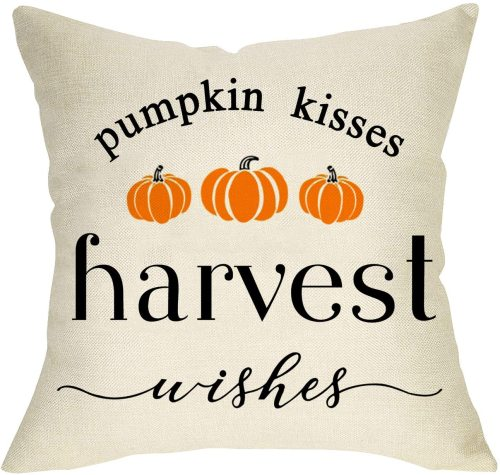 Yanfind Harvest Wishes Pumpkin Kisses Decorative Throw Pillow Cover, Farmhouse Quote Fall Cushion Case Seasonal Home Decorations Thanksgiving Square Pillowcase Autumn Decor for Sofa Couch 18 x 18 Inch