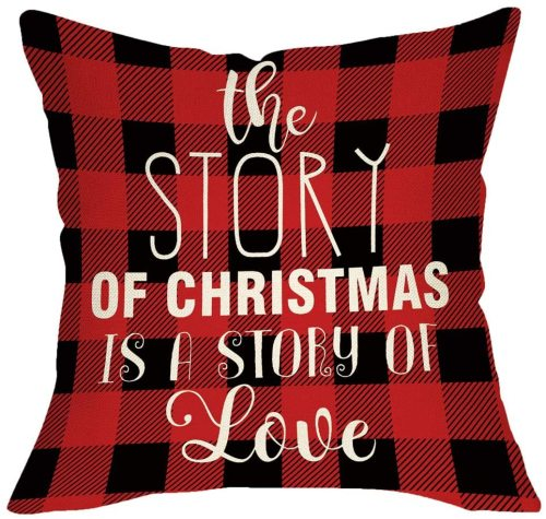 Yanfind The Story of Christmas is a Story of Love Throw Pillow Cover, Xmas Sign Decorative Cushion Case Buffalo Check Red Black Plaid Home Winter Square Pillowcase Decor for Sofa Couch 18 x 18 Inch