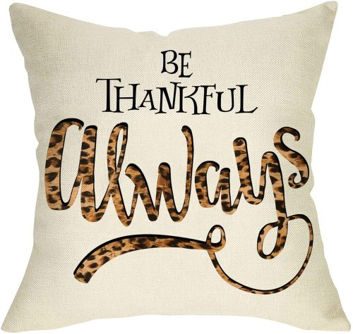 Yanfind be Thankful Always Decorative Throw Pillow Cover Fall Leopard Inspirational Quote Cushion Case, Autumn Farmhouse Thanksgiving Home Decoration Cotton Linen Pillowcase Decor for Sofa Couch 18x18