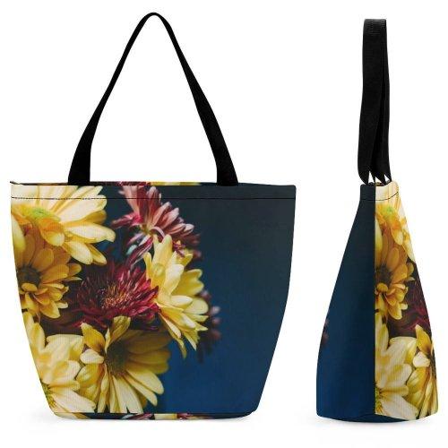 Yanfind Shopping Bag for Ladies Flower Arrangement Flora Bouquet Ornament Plant Daisy Petal Bloom Bunch Reusable Multipurpose Heavy Duty Grocery Bag for Outdoors.