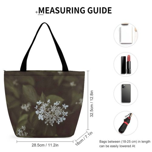 Yanfind Shopping Bag for Ladies Flower Flora Lilac Plant Dill Seasoning Leaves Cherry Dark Leaf Grey Reusable Multipurpose Heavy Duty Grocery Bag for Outdoors.