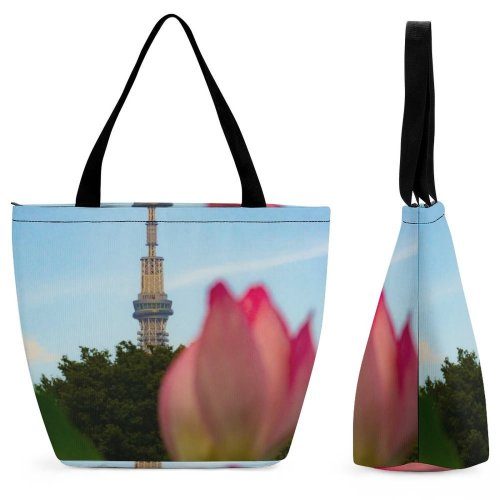 Yanfind Shopping Bag for Ladies Flower Architecture Building Spire Steeple Plant Rose Lily Tokyo Ueno Reusable Multipurpose Heavy Duty Grocery Bag for Outdoors.